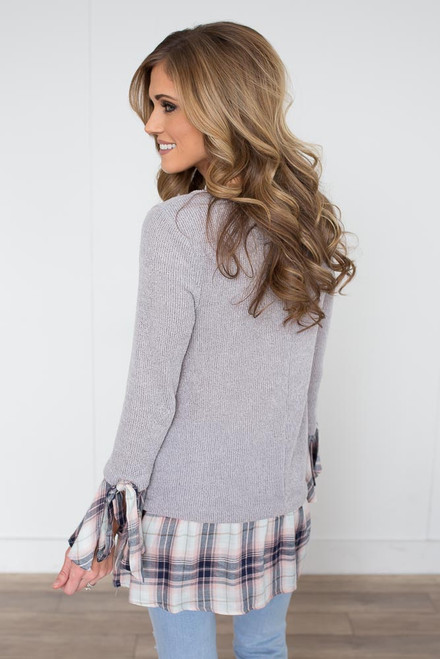 Plaid Contrast Trim Sweater - Light Grey