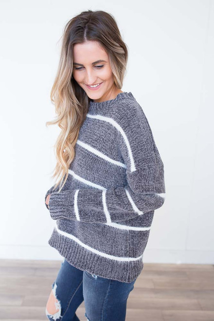 Striped Chenille Sweater - Charcoal/White - FINAL SALE