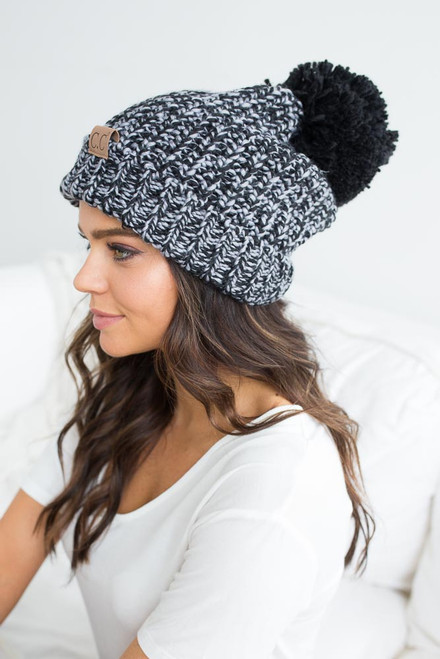 Two Tone Pom Beanie - Black/Grey