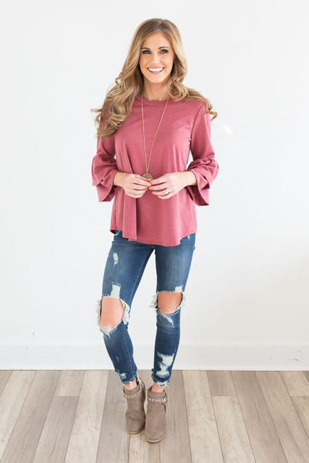 Double Ruffle Bell Sleeve Top - Cayenne