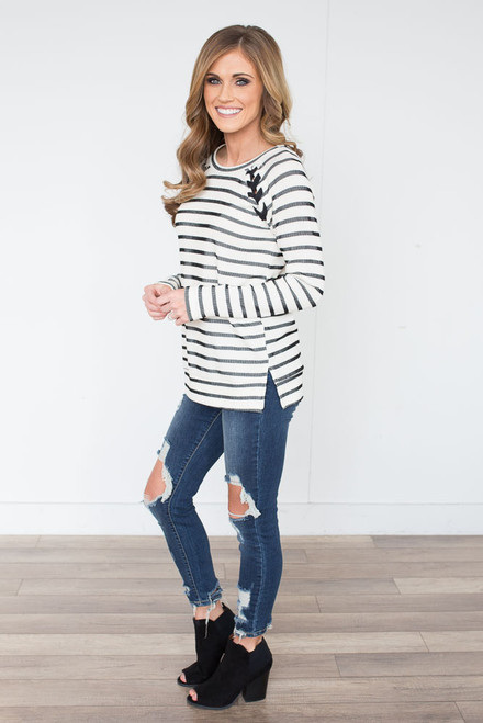 Striped Lace Up Shoulder Pullover - Ivory/Black