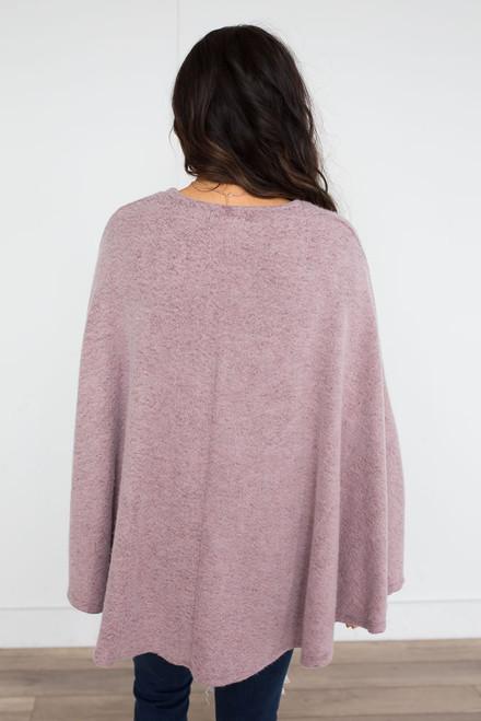 Soft Brushed Draped Poncho - Mauve