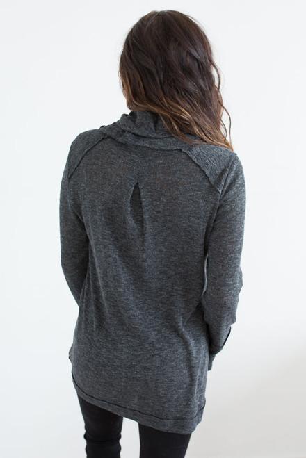 Cowl Neck Seam Detail Sweatshirt - Heather Black - FINAL SALE