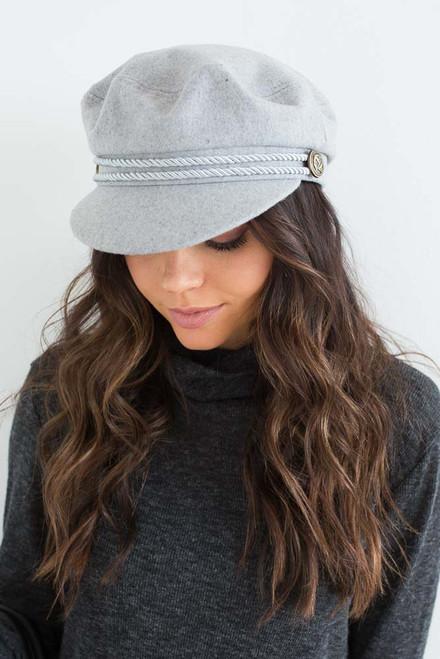 Braided Lieutenant Hat - Light Grey - FINAL SALE