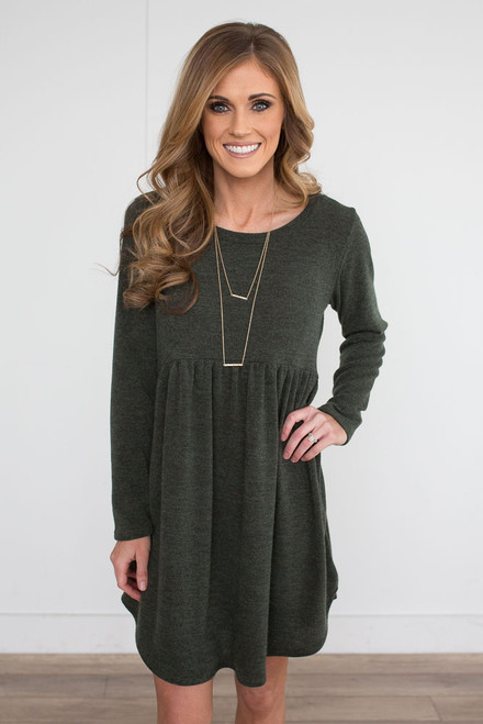 Long Sleeve Babydoll Sweater Dress - Olive