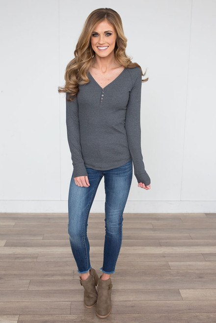 Ribbed Henley Top - Charcoal - FINAL SALE