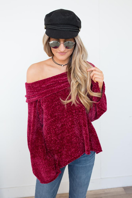 Cowl Neck Chenille Sweater - Ruby Wine