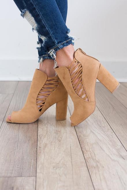 Criss Cross Peep Toe Booties - Camel