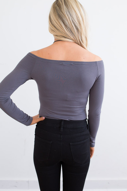 Off the Shoulder Knit Top - Charcoal - FINAL SALE