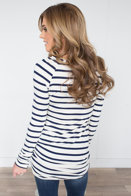 Long Sleeve Striped Ruched Tunic - Ivory/Navy
