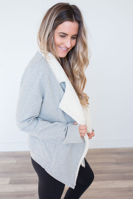 French Terry Sherpa Lined Jacket - Heather Grey - FINAL SALE