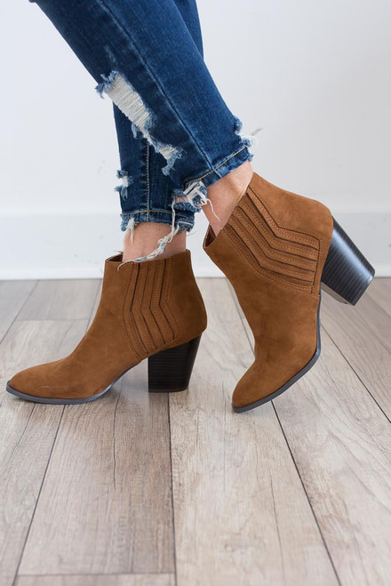 Chevron Detail Booties - Maple