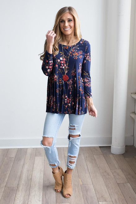 Floral Pleated Babydoll Top - Navy