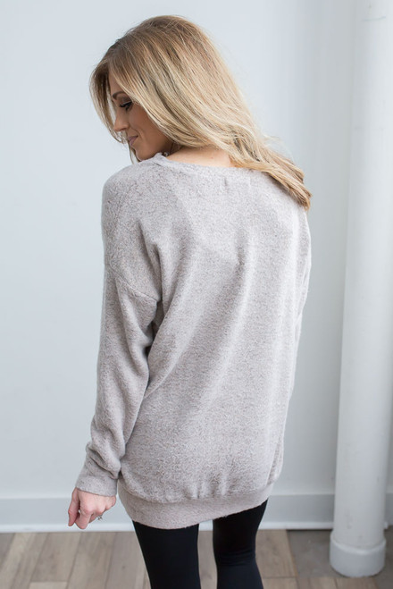 Soft Brushed Cross Front Pullover  - Heather Mocha -  FINAL SALE