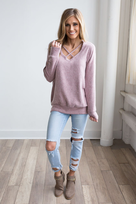 Soft Brushed Cross Front Pullover  - Heather Mauve