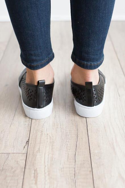 Cutout Slip On Sneakers - Black