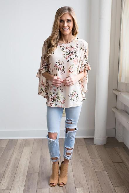 Floral Open Sleeve Blouse - Cream Multi