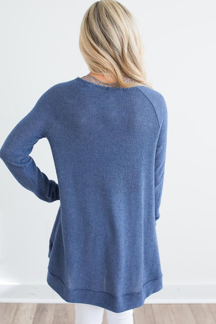 High Low V-Neck Thermal Top - Pacific Blue -  FINAL SALE