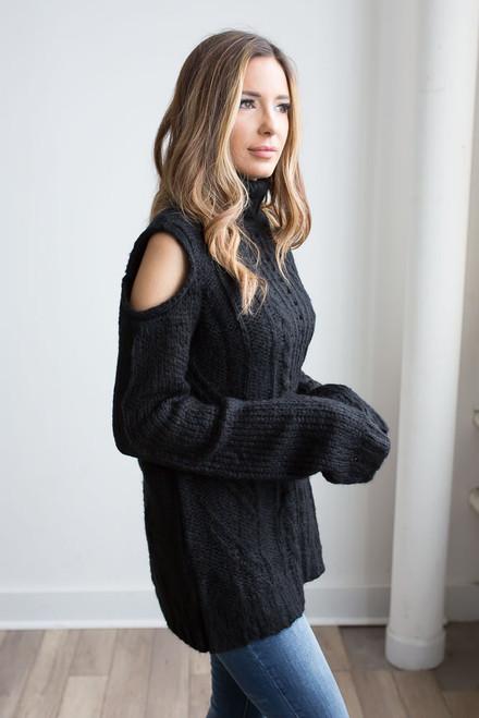 Cold Shoulder Turtleneck Sweater - Black -  FINAL SALE