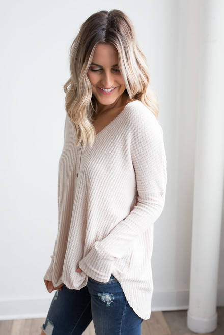 Thermal Button Down Knot Top - Beige