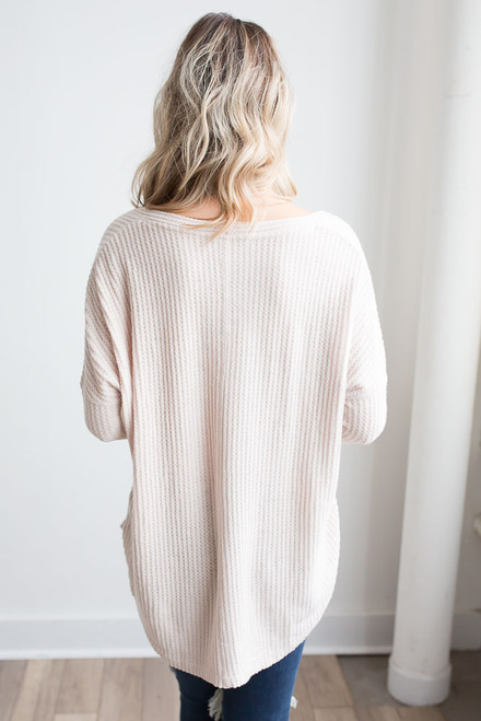 Thermal Button Down Knot Top - Beige - FINAL SALE