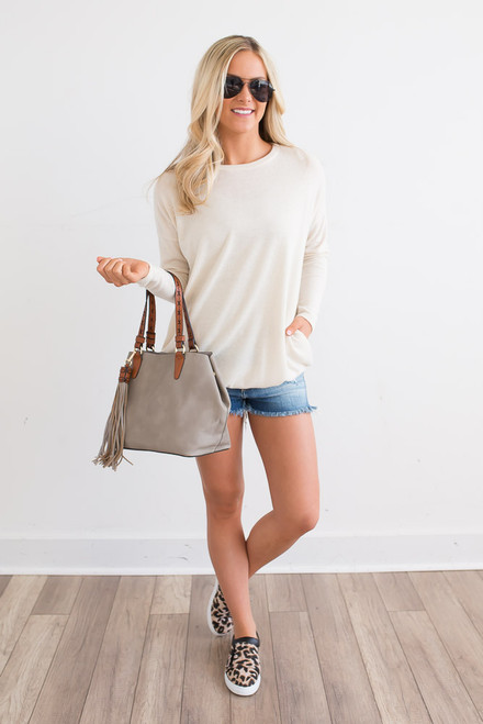 Cozy Knit Pocket Tunic - Ivory