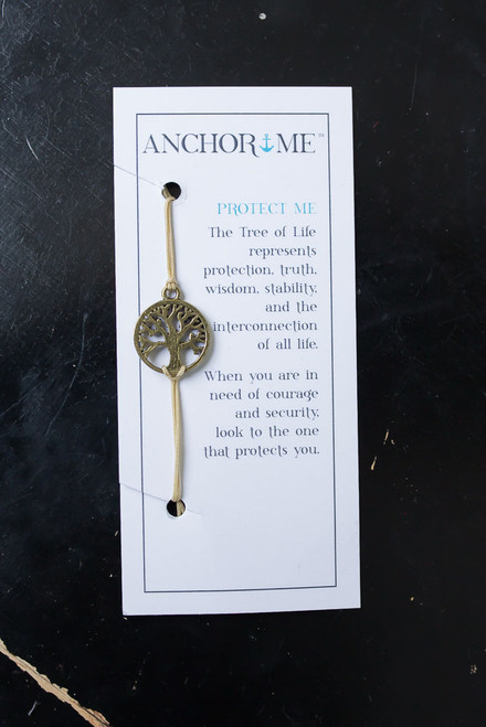 Anchor Me Tree of Life Bracelet - Bronze/Tan