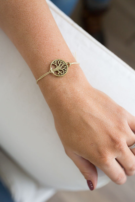 Anchor Me Tree of Life Bracelet - Bronze/Tan - FINAL SALE