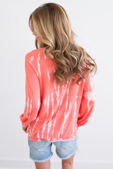 Lightweight Tie Dye Pocket Pullover - Coral