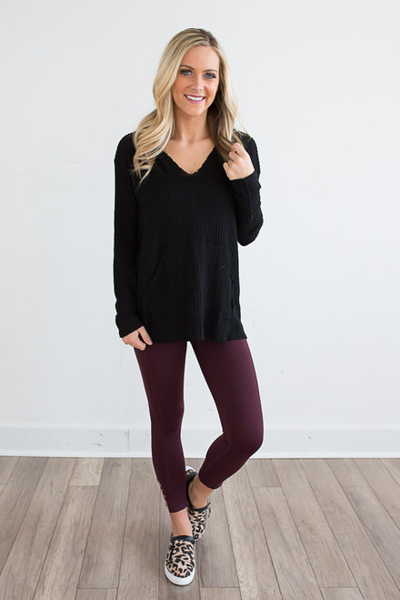Thermal Hooded Pocket Pullover - Black