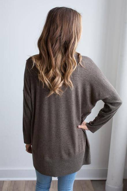 V-Neck Ribbed Detail Sweater - Heather Olive