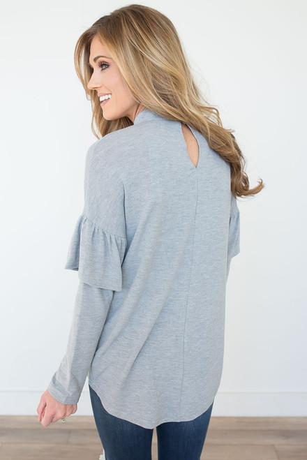 Mock Neck Ruffle Sleeve Top - Heather Grey