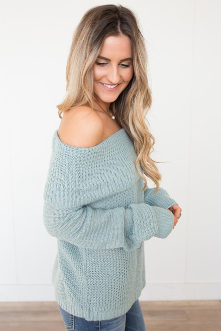 Off the Shoulder Sweater - Paradise Blue -  FINAL SALE