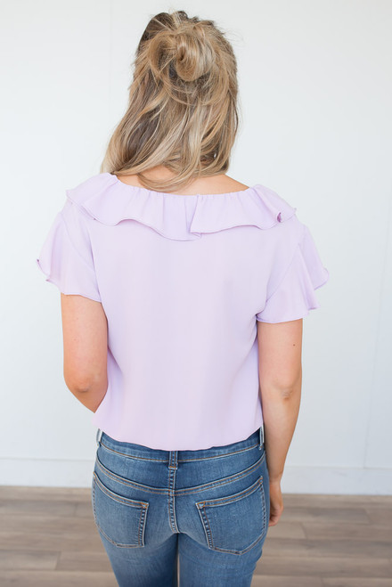 Everly V-Neck Ruffle Detail Top - Lilac