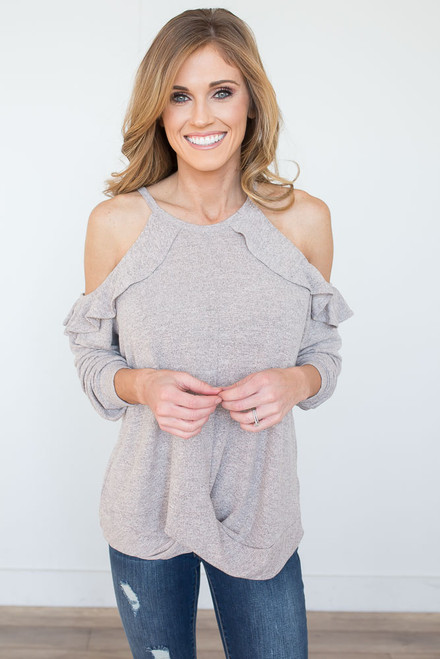 Two Tone Ruffle Cold Shoulder Top - Mocha/Pink