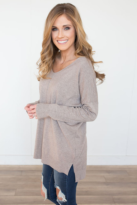 V-Neck Seam Detail Sweater - Heather Mocha