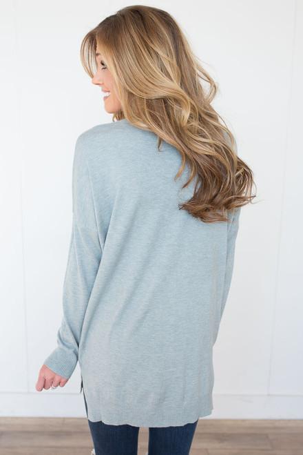 V-Neck Seam Detail Sweater - Heather Baby Blue -  FINAL SALE