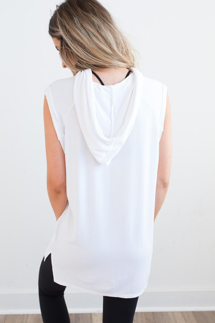 Sleeveless Drawstring Hoodie - White - FINAL SALE