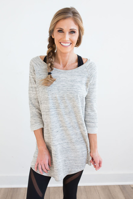 Marbled French Terry Tunic - Grey