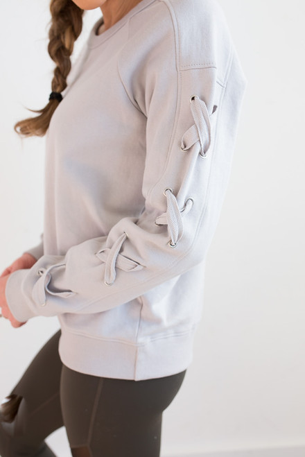 Lace Up Sleeve Pullover - Crystal Grey
