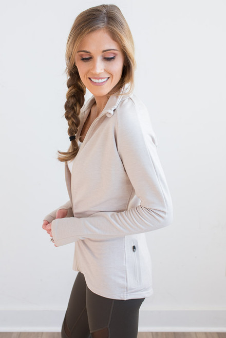 Zip Up Athletic Jacket - Taupe -  FINAL SALE