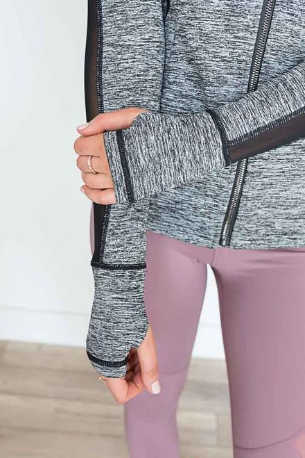 Marbled Mesh Panel Zip Up Jacket - Black/Grey -  FINAL SALE