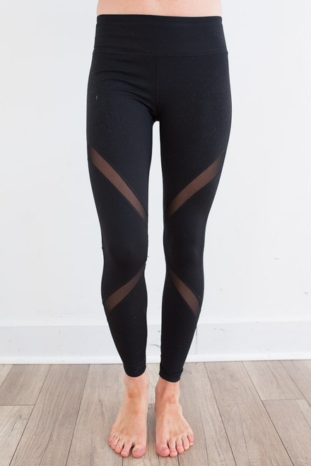 Mesh Panel Athletic Leggings - Black