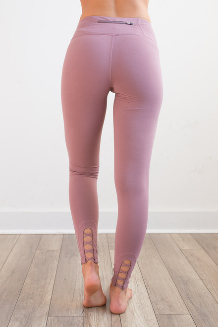 Lace Up Back Athletic Leggings - Dusty Pink