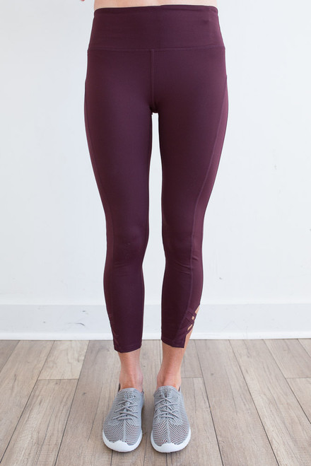 Criss Cross Accent Athletic Leggings - Burgundy