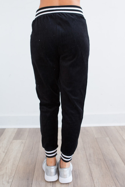 Velour Varsity Stripe Joggers - Black