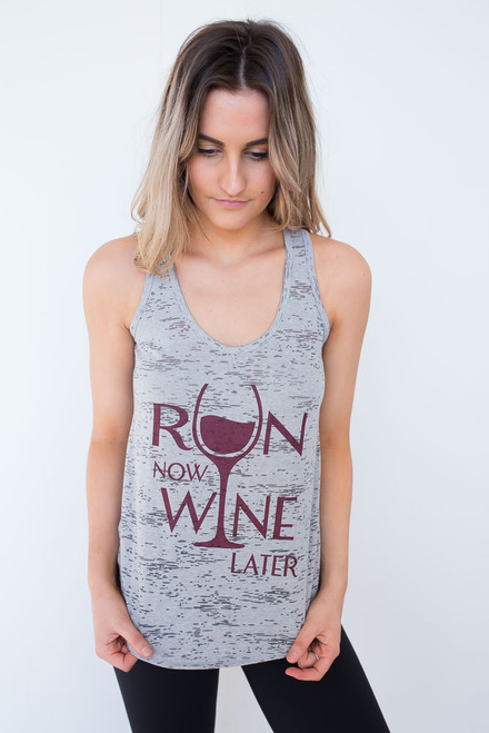 Run Now Wine Later Tank - Grey
