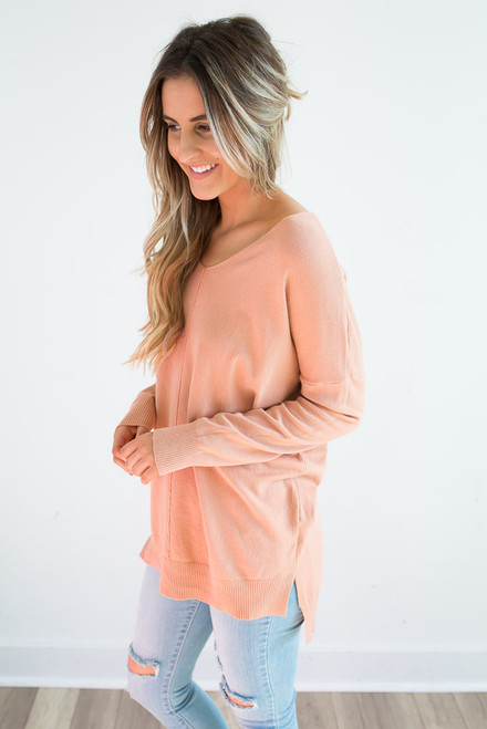 V-Neck Seam Detail Sweater - Dusty Coral
