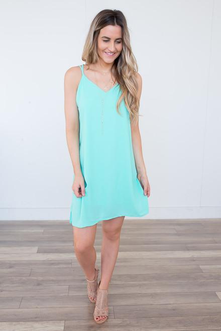 Everly Cross Back Dress - Mint -  FINAL SALE