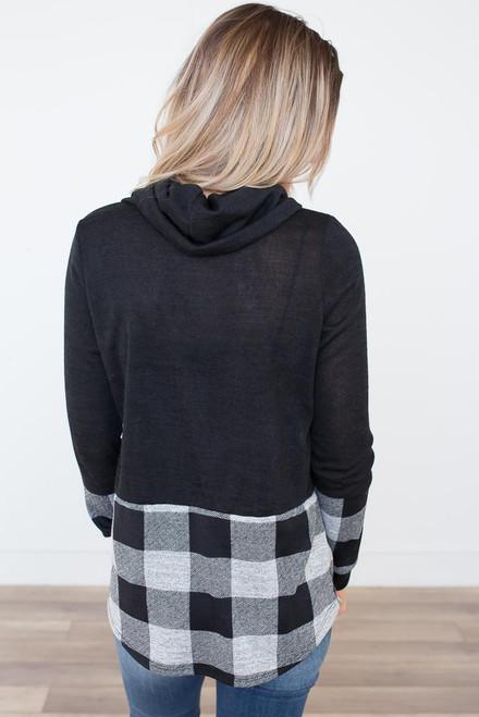 Cowl Neck Plaid Contrast Sweater - Black/Grey